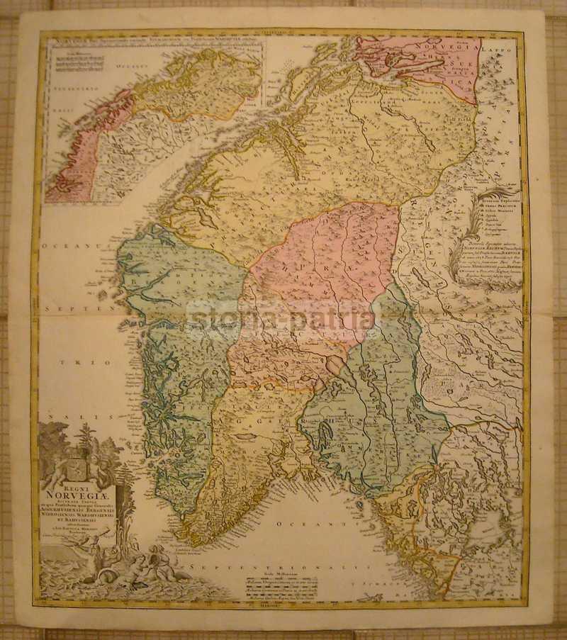 Cartina Della Norvegia Da Stampare.Antichissima Mappa Geografica Norvegia Bella Cartografia A Colori Decorativa